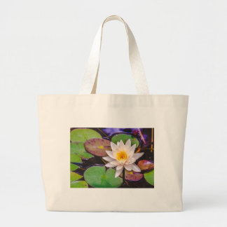 Lily pad on the water large tote bag