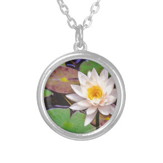 Lily pad on the water silver plated necklace