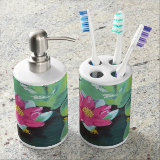 """Lily Pads"" Toothbrush Holder and Soap Dispenser"