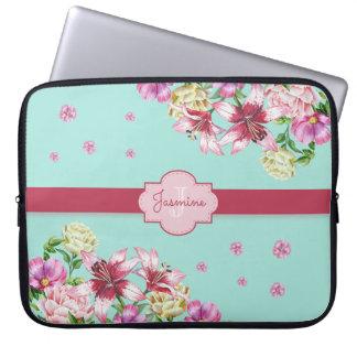 Lily & Peony Floral Aqua Laptop Sleeve