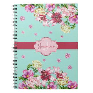 Lily & Peony Floral Aqua Notebook
