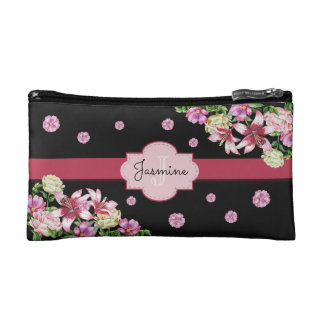 Lily & Peony Floral Black Cosmetic Bag