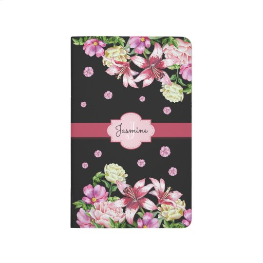 Lily & Peony Floral Black Journal