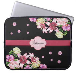 Lily & Peony Floral Black Laptop Sleeve