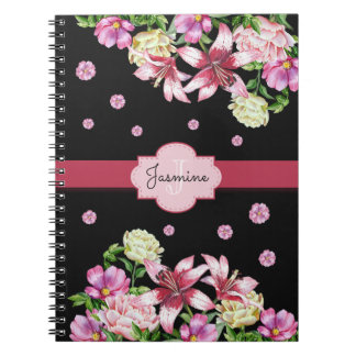 Lily & Peony Floral Black Notebook