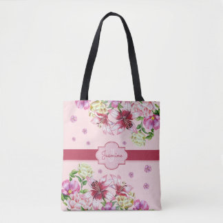 Lily & Peony Floral Pink Tote Bag