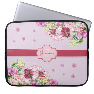 Lily & Peony Floral Purple Laptop Sleeve