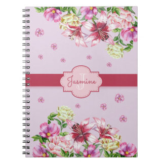 Lily & Peony Floral Purple Notebook