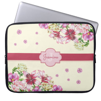 Lily & Peony Floral Yellow Laptop Sleeve