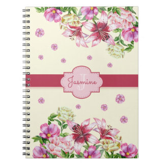 Lily & Peony Floral Yellow Notebook