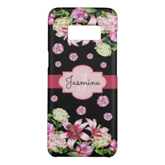 Lily & Peony Monogram Black Case-Mate Samsung Galaxy S8 Case
