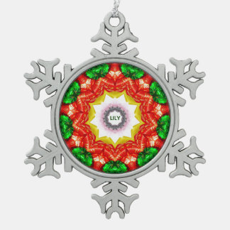 LILY ~ Personalized Christmas Snowflake Fractal ~ Snowflake Pewter Christmas Ornament