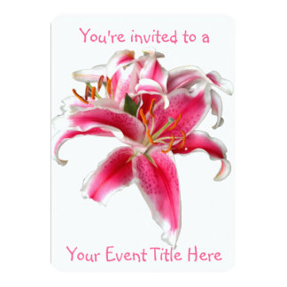 """Lily Pink and White 5"""" X 7"""" Invitation Card"""