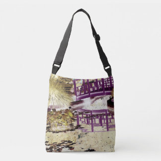 Lily pond and bridge crossbody bag
