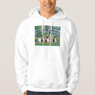 Lily Pond Bridge - Welsh Corgis (five) Hoodie