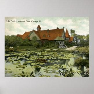Lily Pond, Humboldt Park, Chicago Vintage Poster