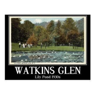 Lily Pond, Watkins Glen, New York, 1930s, Vintage Postcard