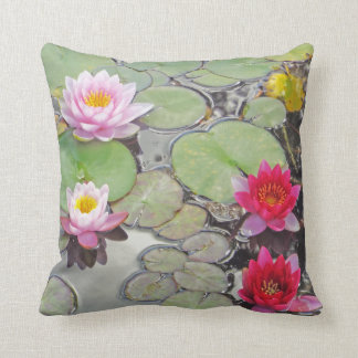 Lily Pond With Lotus Blossoms Throw Pillow