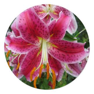 Lily Stargazer Purple Flower Custom Invitations