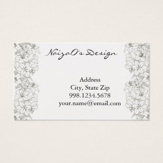 Lily Vine in Gold Background Sketch Business Card