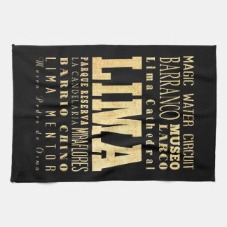 Lima City of Peru Typography Art Kitchen Towel