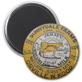 Lima Ohio Sunnydale Farms Milk Bottle Cap Cow Koop Magnet