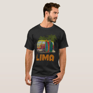 Lima Peru Retro Surfing Distressed T-Shirt