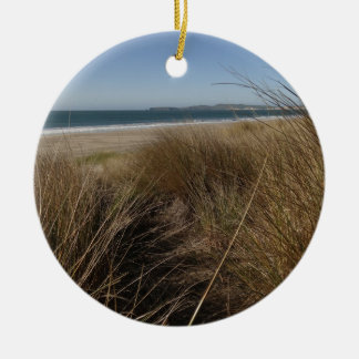 Limantour Beach at Point Reyes National Seashore Round Ceramic Ornament