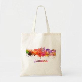 Limassol skyline in watercolor tote bag