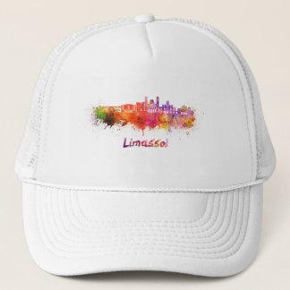 Limassol skyline in watercolor trucker hat