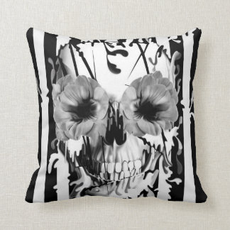 Limbo, skull with poppy eyes throw pillow