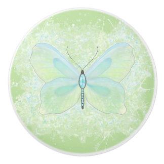 Lime and aqua jewelled butterfly knob ceramic knob