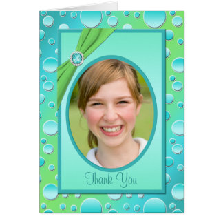 Lime and Aqua Polka Dot Thank You Card with Photo