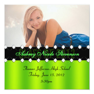 Lime and Black Chic Diamond Graduation Invite