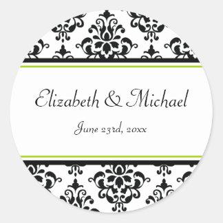 Lime and Black Damask Round Wedding Favor Label Sticker