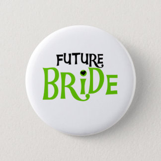 Lime and Black Future Bride 2 Inch Round Button