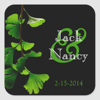 Lime and Black Ginkgo Biloba Leaf Sticker