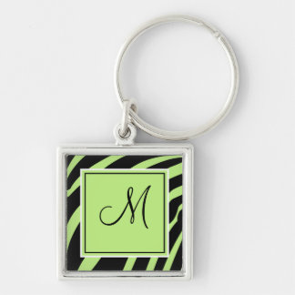 Lime and Black Monogram Zebra Print Keychain