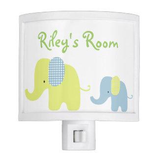 Lime and Blue Baby Elephant Nursery Room Nite Lites