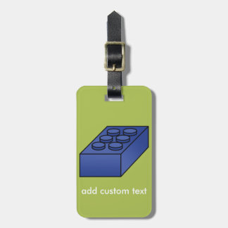 Lime and Blue Building Black Toy Custom Text Luggage Tag