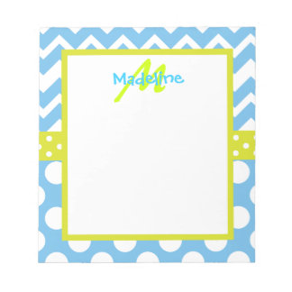 Lime and Blue Chevron Polka Dots Monogram Notepad