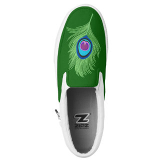 Lime and Blue Peacock Feather on Emerald Green Slip-On Sneakers