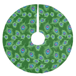 Lime and Blue Peacock Feathers on Emerald Green Brushed Polyester Tree Skirt