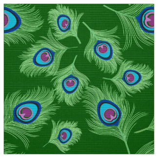 Lime and Blue Peacock Feathers on Emerald Green Fabric