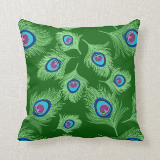 Lime and Blue Peacock Feathers on Emerald Green Throw Pillow