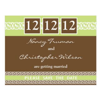 Lime And Chocolate Save The Date Postcards