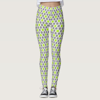 Lime and Grey Hexagon Pattern Leggings