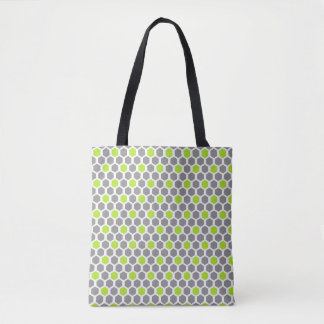 Lime and Grey Hexagon Pattern Tote Bag