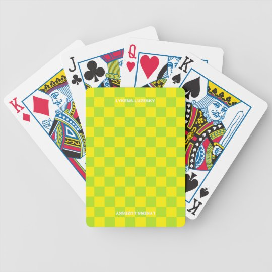 Lime and lemon chequered flag bicycle playing cards