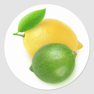 Lime and lemon classic round sticker